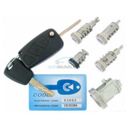 Peugeot Komplettes Zündschlossset  für Bipper - mit 2 gefräßten Schlüssel - 434 Mhz - ID46 chip - Schlüsselblatt SIP22 - OEM Produkt